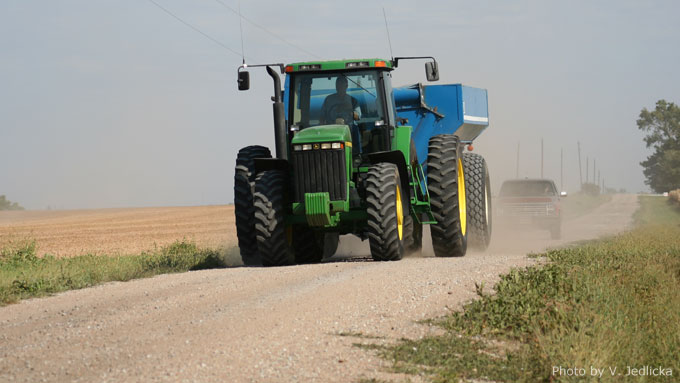 Be aware of farm equipment on the roads during harvest - Safety First