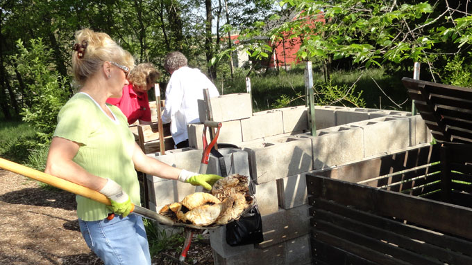 UNL Master Gardeners Turning Compost at a Demonstration Site in Lincoln