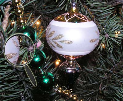 Ornaments in a real Christmas Tree