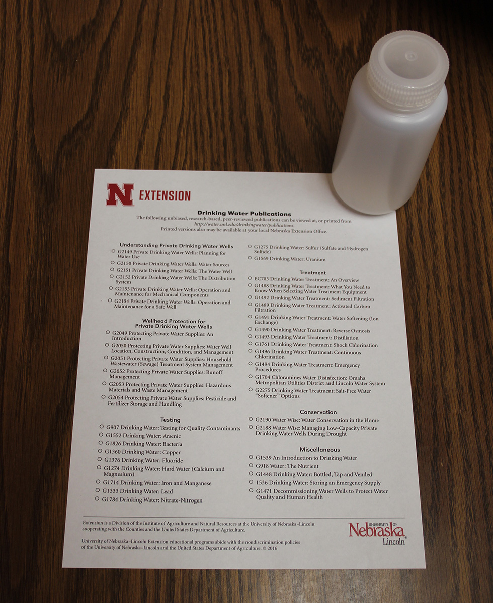 Water Sample Bottle and Extension Handout