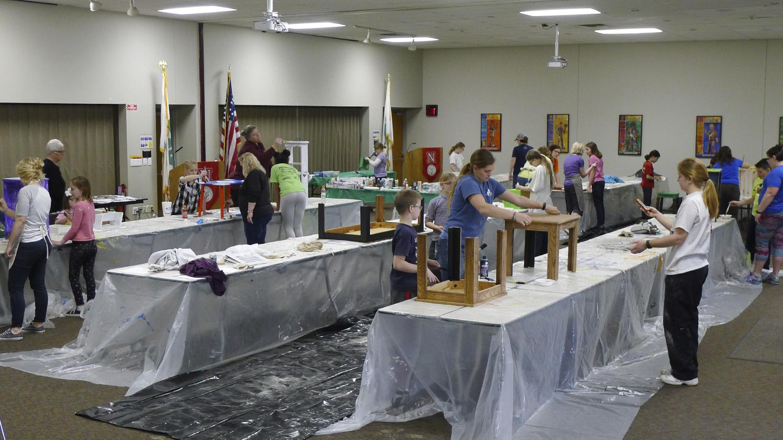 Room of youth and adults painting furniture